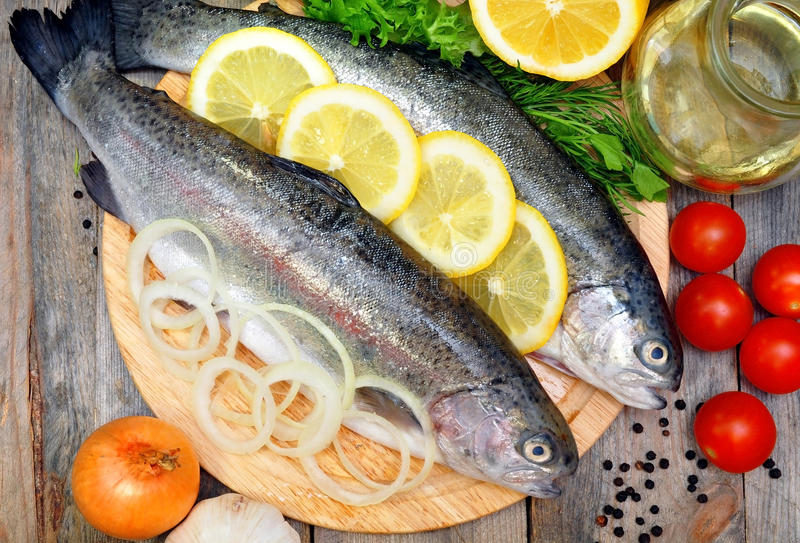 Download Trout on a plate stock image. Image of garlic, lemon - 39503561