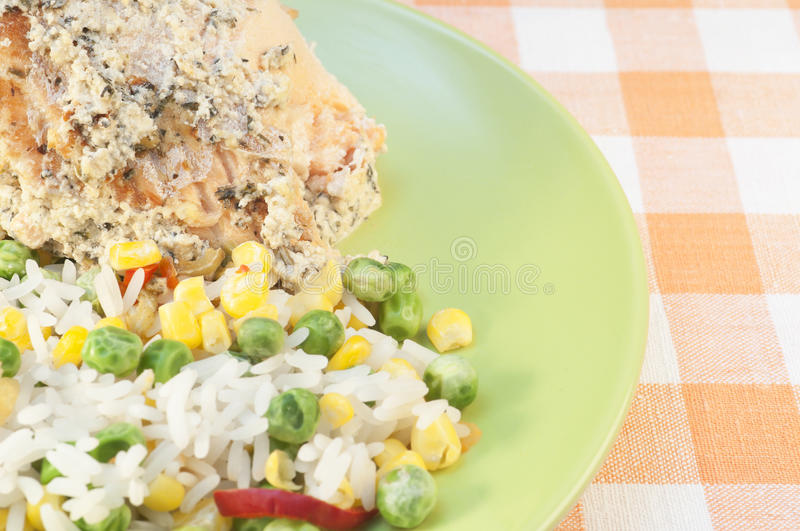 TRout and rice wtih vegetables royalty free stock photo