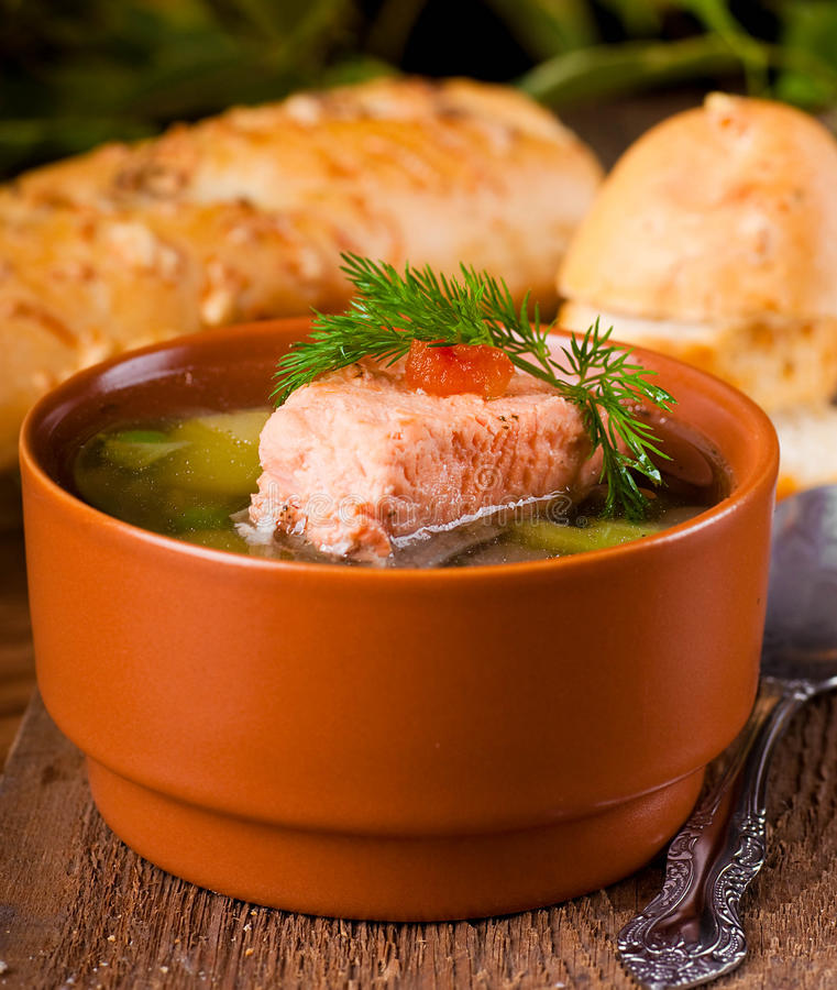 Trout soup and bread. Fish a trout soup and bread with fennel stock images