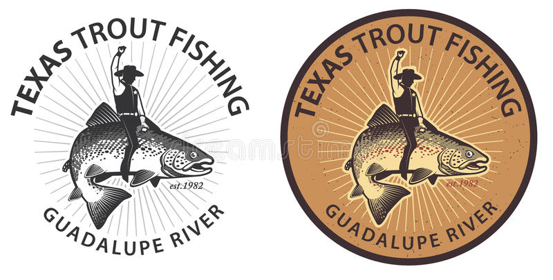 Trout Wrangler Fish Rider. Vintage trout fishing emblems, labels and design elements royalty free illustration