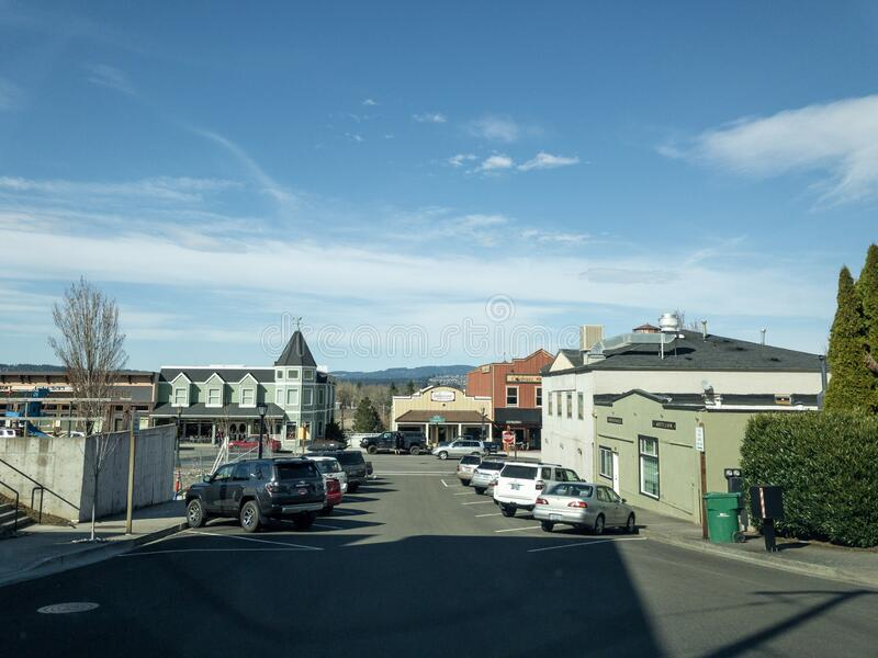 A street in dowtown Troundale in Oregon on a sunny day. Troutdale, Oregon / USA - Circa 2019: A street in dowtown Troundale in Oregon on a sunny day stock image