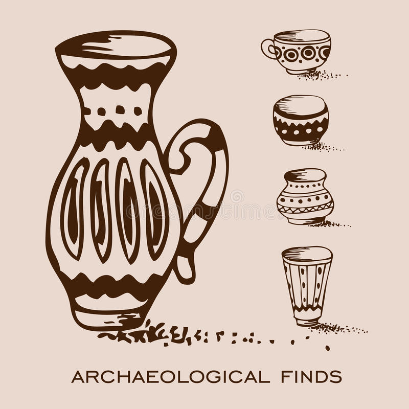 Trouvailles archéologiques Vases et brocs illustration de vecteur