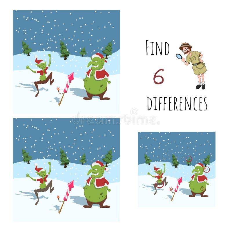 Trouver 6 différences Jeu éducatif pour enfants Gobelins de caricatures au chapeau de Santa Maria avec feu d'artifice Puzzle de N illustration de vecteur