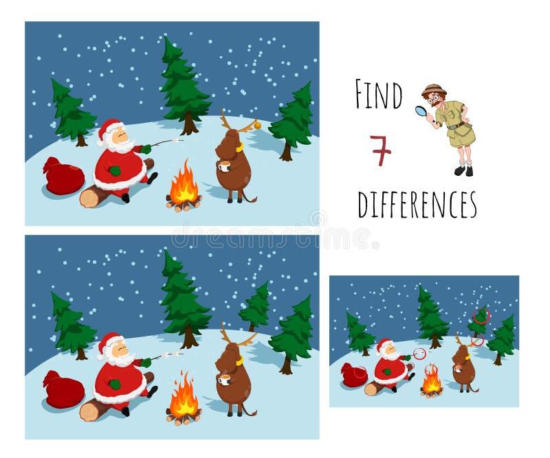 Trouver 7 différences Jeu éducatif pour enfants Le Père Noël près du feu de joie Puzzle de Noël illustration de vecteur