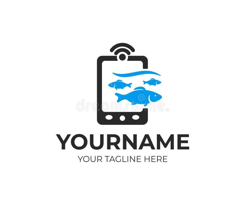 Trouveur de poissons, sondeur d'écho, sondeur et poissons recherchant, conception de logo Poissons, pêche, équipement de pêche et illustration de vecteur