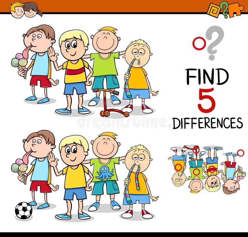 Trouvez l'activité de différences illustration de vecteur