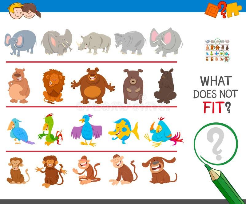 Trouvez l'animal qui non adapté dans la rangée illustration libre de droits