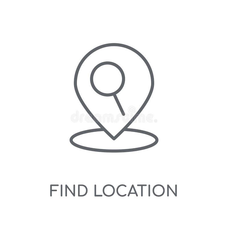 Trouvez l'icône linéaire d'emplacement Escroquerie moderne de logo d'emplacement de découverte d'ensemble illustration stock