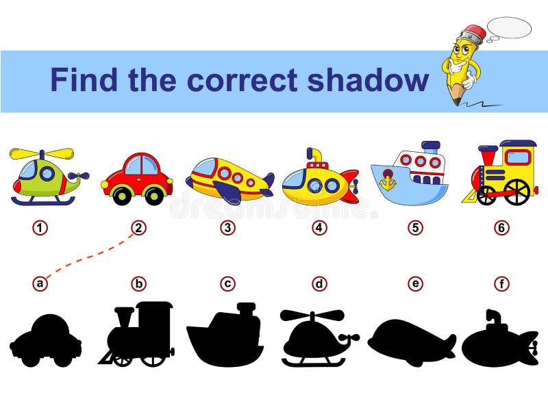 Trouvez l'ombre correcte Badine le jeu éducatif Transport de dessin animé Voiture, sous-marin, bateau, avion, train, hélicoptère illustration de vecteur