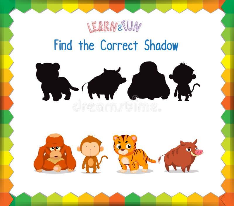 Trouvez l'ombre correcte d'animaux illustration libre de droits