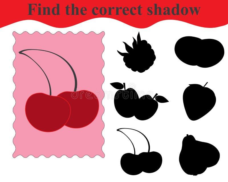 Trouvez l'ombre correcte, jeu éducatif pour des enfants illustration libre de droits