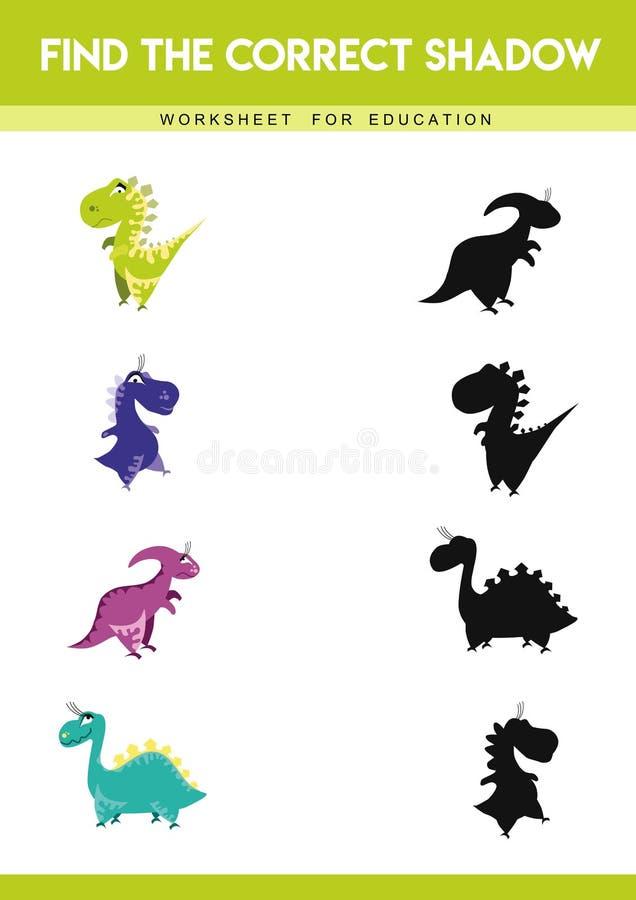 Trouvez l'ombre correcte Jeu ?ducatif pour des enfants Illustration de vecteur de dessin anim? illustration stock