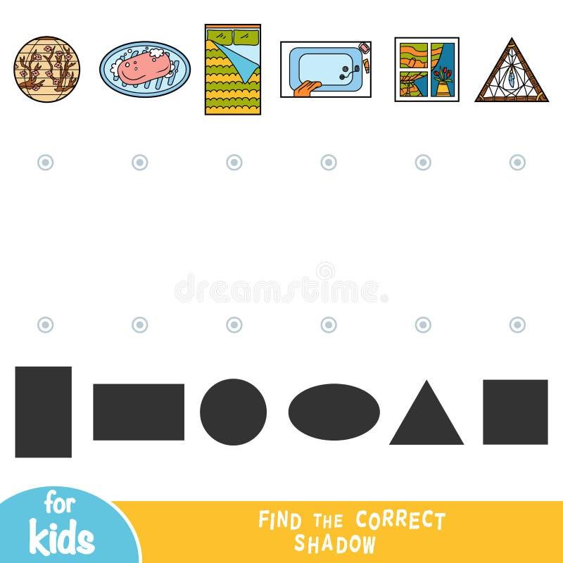 Trouvez l'ombre correcte, le jeu d'éducation, ensemble d'objets à la maison illustration stock