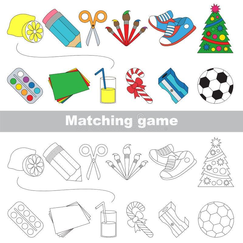 Trouvez l'ombre correcte pour chaque objet, le jeu d'ensemble illustration libre de droits