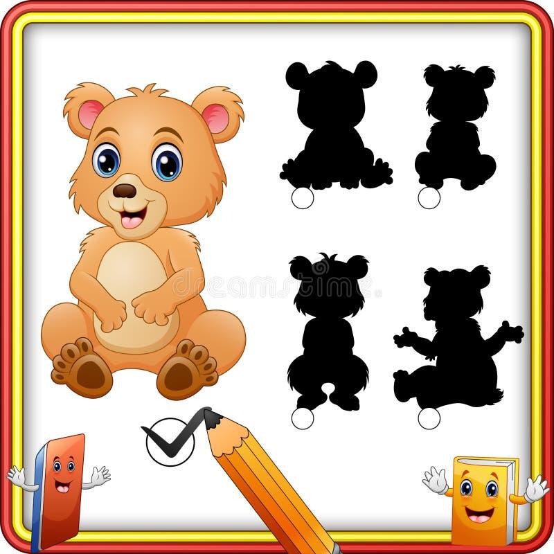 Trouvez l'ours correct de bébé d'ombre Jeu assorti d'enfants d'ombre illustration libre de droits