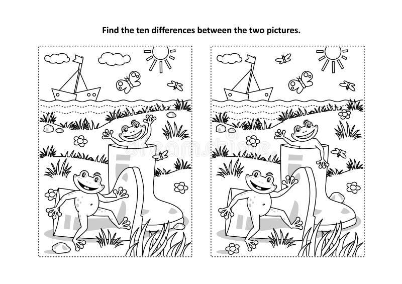 Trouvez la page visuelle de puzzle et de coloration de différences avec des bottes de caoutchouc et des grenouilles illustration de vecteur
