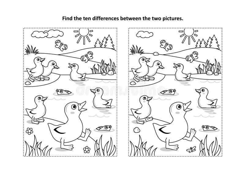 Trouvez la page visuelle de puzzle et de coloration de différences avec des canetons sur l'étang illustration libre de droits