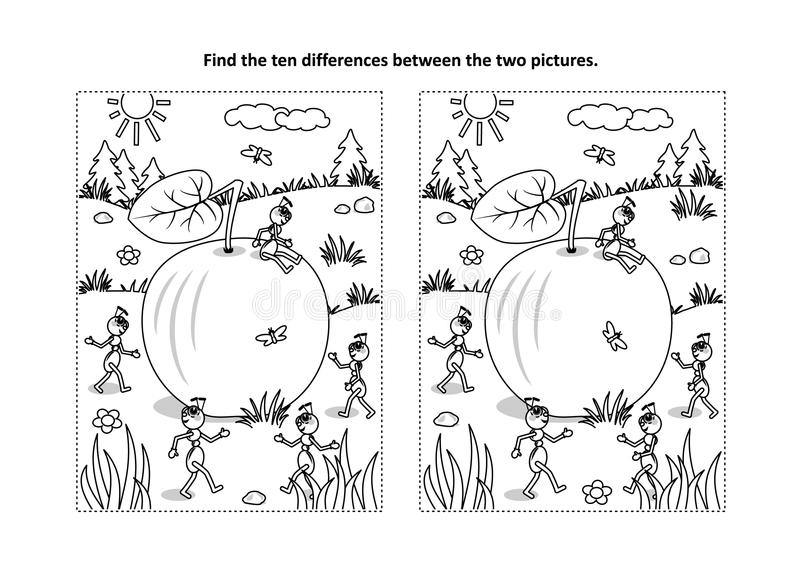 Trouvez la page visuelle de puzzle et de coloration de différences avec la pomme et les fourmis illustration libre de droits