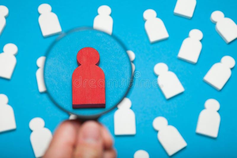 Trouvez la recrue, location de client Choix du travail des employés image stock