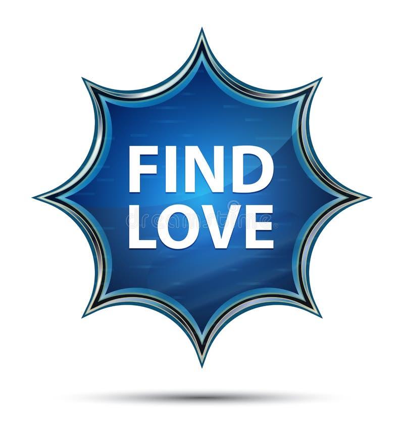 Trouvez le bouton bleu de rayon de soleil vitreux magique d'amour illustration libre de droits