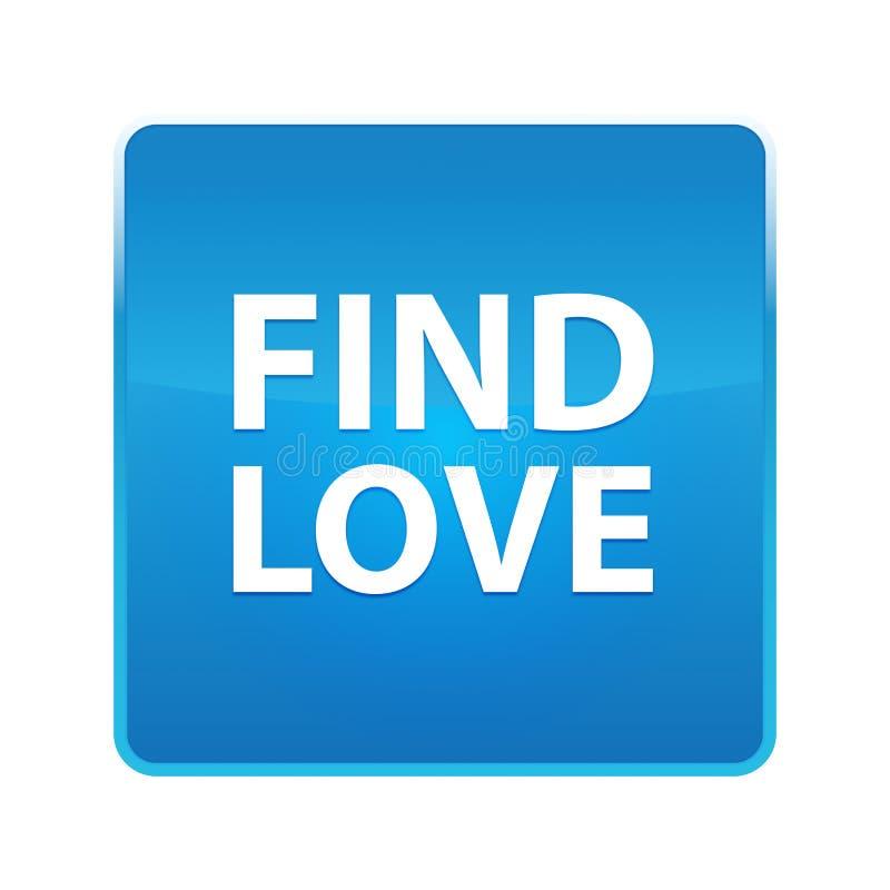 Trouvez le bouton carré bleu brillant d'amour illustration libre de droits