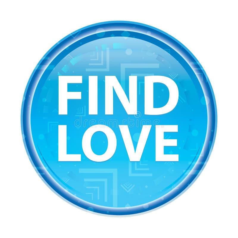 Trouvez le bouton rond bleu floral d'amour illustration libre de droits