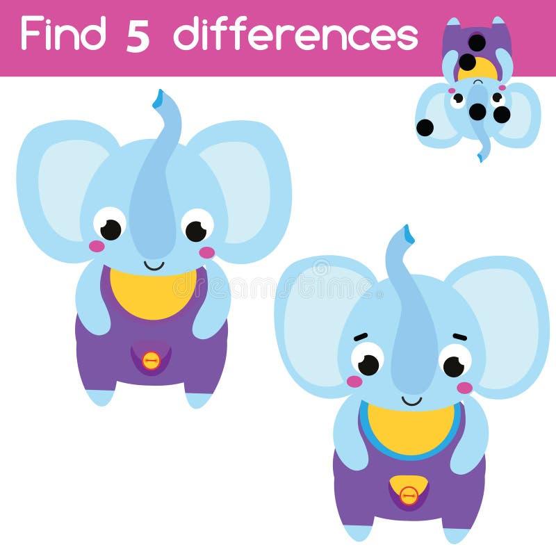 Trouvez le jeu éducatif d'enfants de différences Activité d'enfants avec l'éléphant de bande dessinée illustration libre de droits