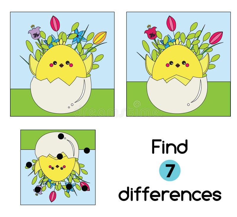 Trouvez le jeu éducatif d'enfants de différences Badine la feuille d'activité avec le poulet en oeuf Thème de Pâques illustration stock