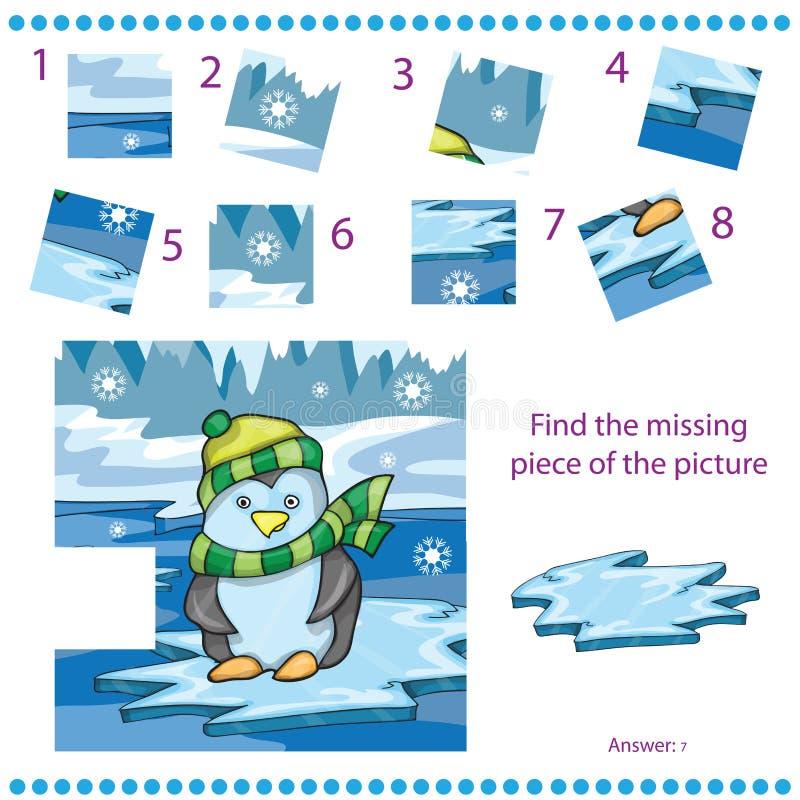 Trouvez le jeu absent de morceau pour des enfants avec le pingouin illustration libre de droits