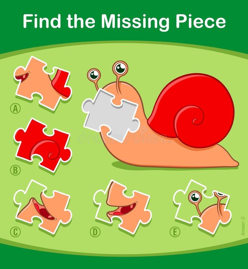 Trouvez le jeu absent de puzzle de morceau avec l'escargot mignon illustration stock