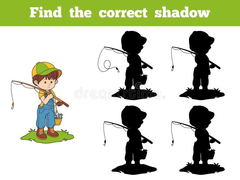 Trouvez le jeu correct d'ombre (le pêcheur de garçon) illustration stock
