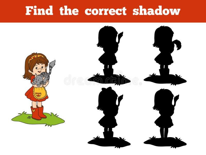 Trouvez le jeu correct d'ombre (petite fille et chat) illustration de vecteur