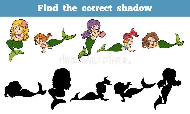 Trouvez le jeu correct d'ombre (placez des sirènes) illustration stock