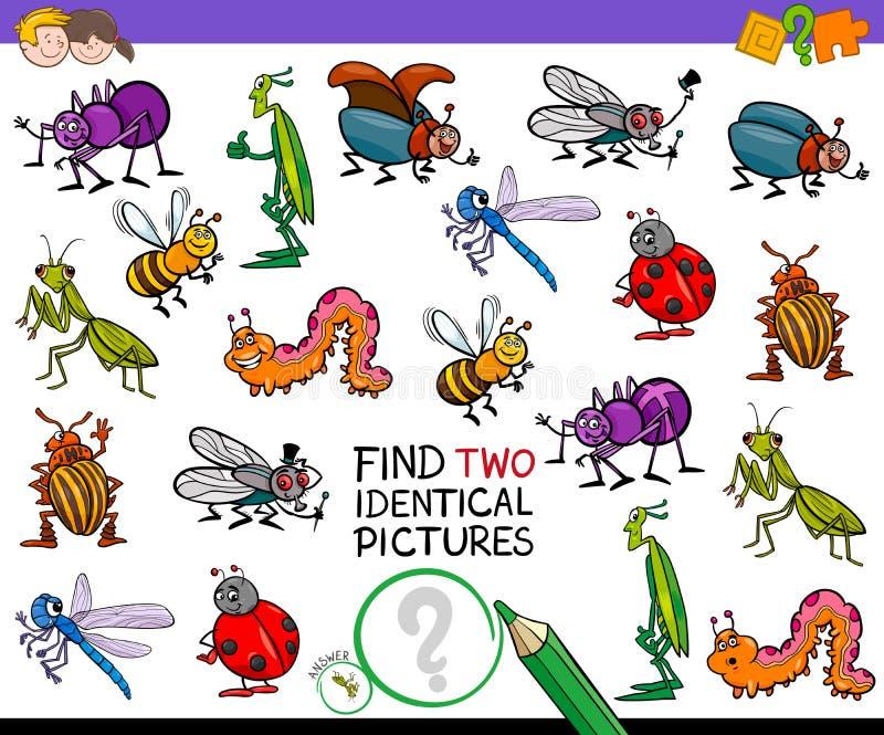 Trouvez le jeu identique de deux insectes de bande dessinée pour des enfants illustration de vecteur