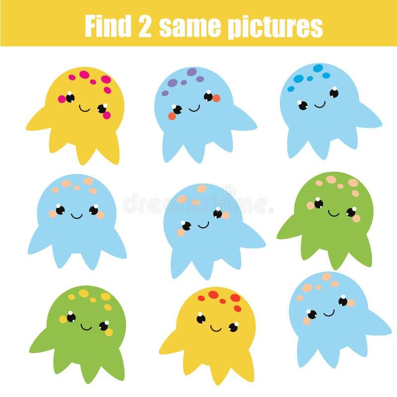 Trouvez le même jeu éducatif d'enfants de photos Thème d'animaux illustration libre de droits
