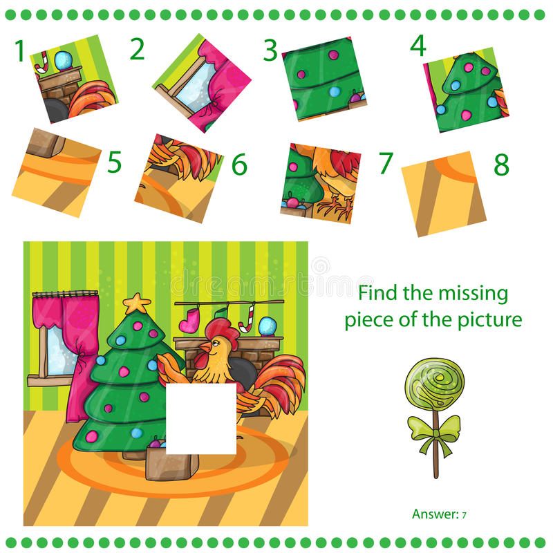 Trouvez le morceau absent - coq de bande dessinée avec l'arbre illustration stock