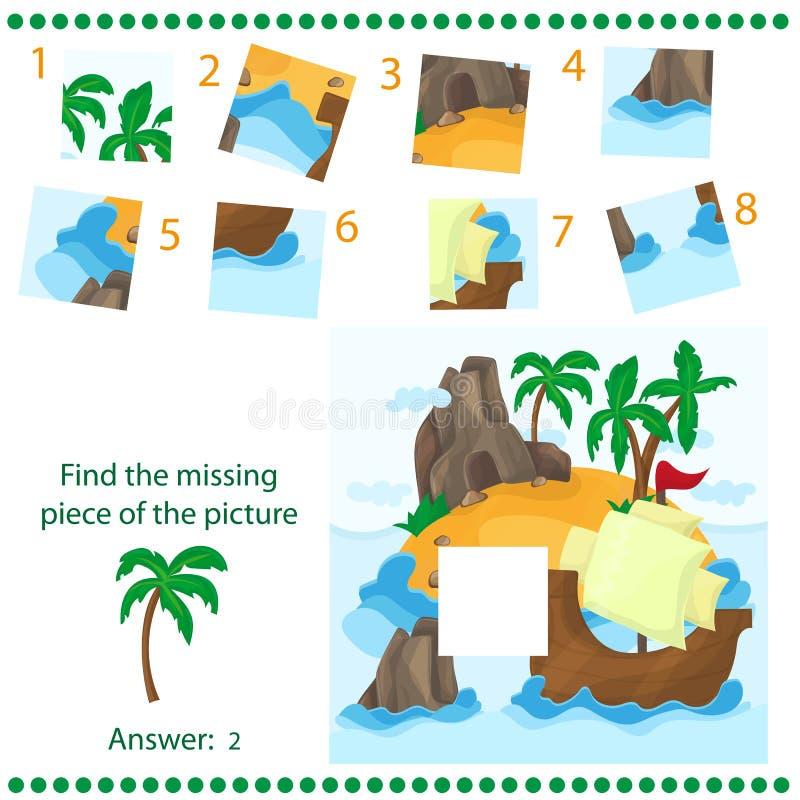 Trouvez le morceau absent - déconcertez le jeu pour des enfants - île et bateau tropicaux illustration stock