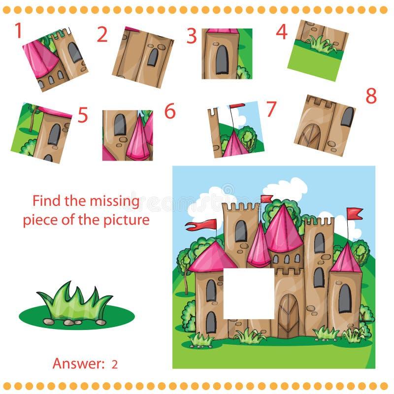 Trouvez le morceau absent - déconcertez le jeu pour des enfants illustration de vecteur
