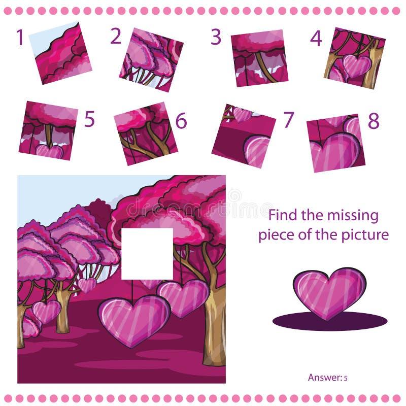 Trouvez le morceau absent - déconcertez le jeu pour des enfants illustration stock