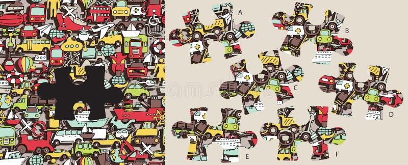 Trouvez le morceau absent de transport, jeu visuel Solution dans le hidd illustration de vecteur