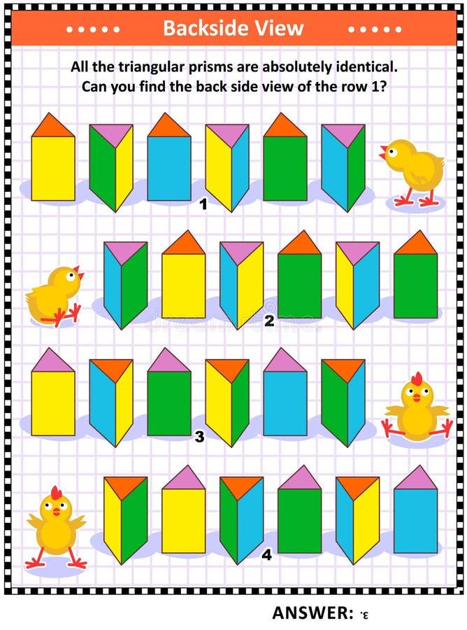 Trouvez le puzzle visuel de maths de vue d'arrière avec les prismes triangulaires illustration de vecteur