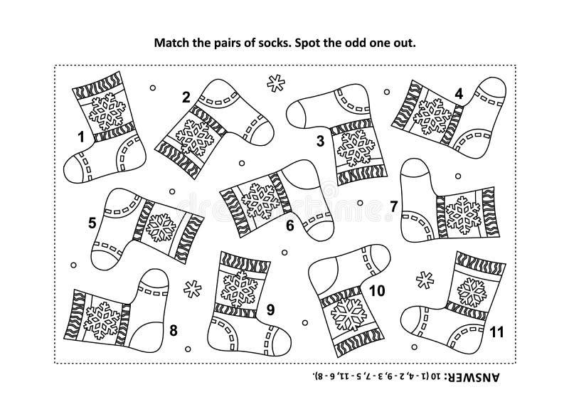 Trouvez les deux photos identiques avec la page visuelle de puzzle et de coloration de chaussettes illustration libre de droits
