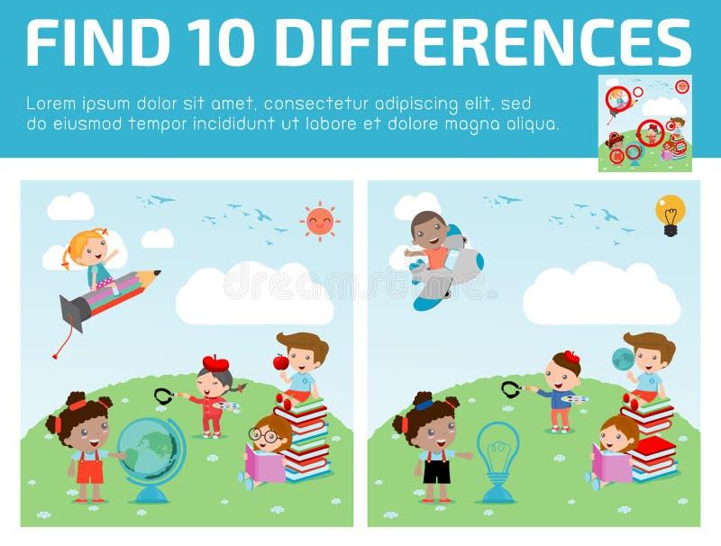 Trouvez les différences, jeu pour des enfants, différences de découverte, jeux de cerveau, jeu d'enfants, illustration libre de droits