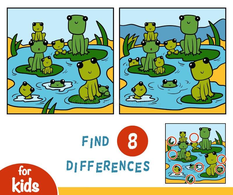 Trouvez les différences, jeu pour des enfants, neuf grenouilles illustration libre de droits