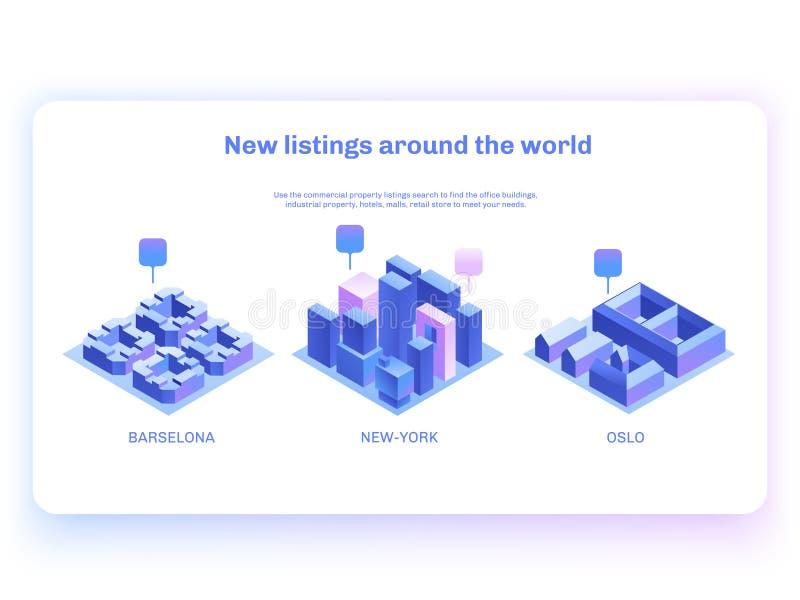Trouvez les immobiliers commerciaux pour vos affaires Illustation isométrique de vecteur avec des bâtiments Concept de page d'att illustration libre de droits