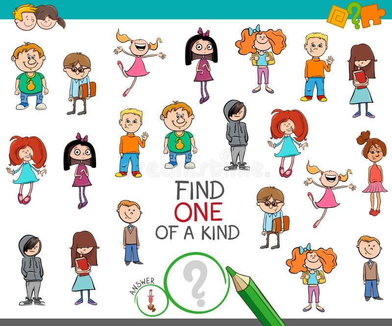 Trouvez un d'un jeu aimable avec des caractères d'enfant illustration libre de droits