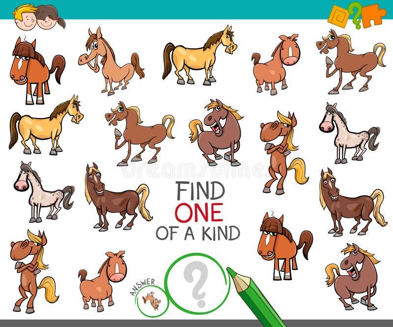 Trouvez un d'une sorte avec des caractères d'animal de cheval illustration stock
