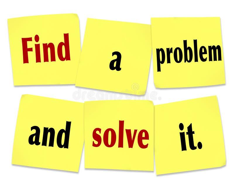 Trouvez un problème et résolvez-le exprime des affaires nouvelles de notes collantes illustration stock