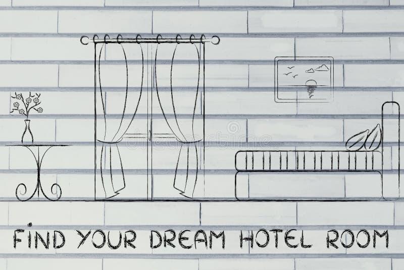 Trouvez votre hôtel rêveur, conception d'intérieur de pièce photos stock