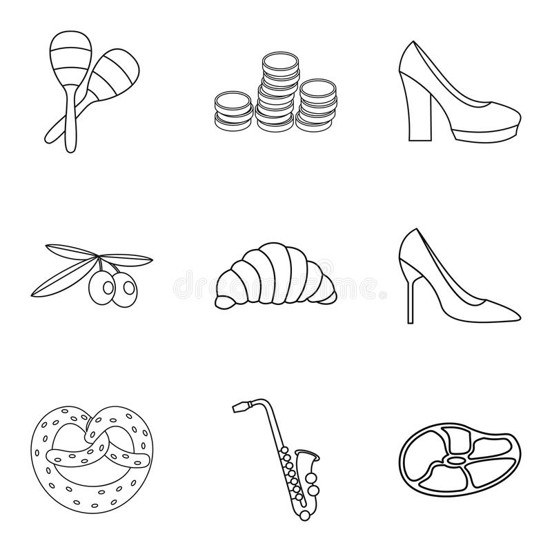 Trouw geplaatste schetsen de pictogrammen, stijl royalty-vrije illustratie